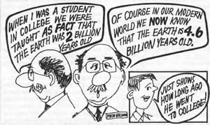 Cartoon of a man who went to college a long time ago.