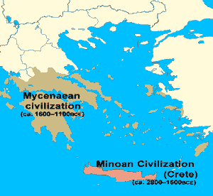 The Early Greeks - Map depicting the approximate borders of Minoan and Mycenaean influence.