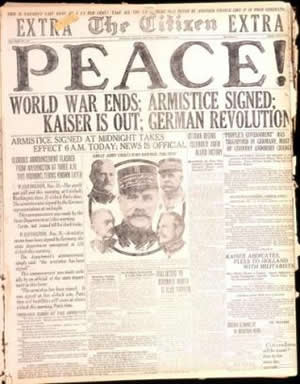 World War I - Newspaper Headine announcing the end of the Great War