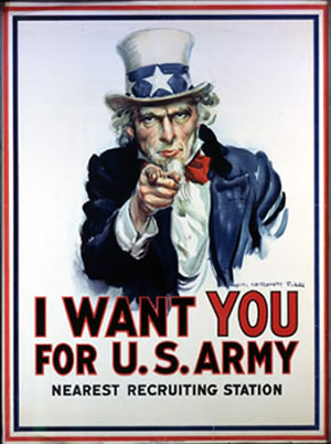 The World Wars -This poster was used to recruit solders in World War I